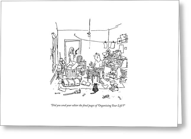 A Wife Asks Her Writer-husband Greeting Card by George Booth