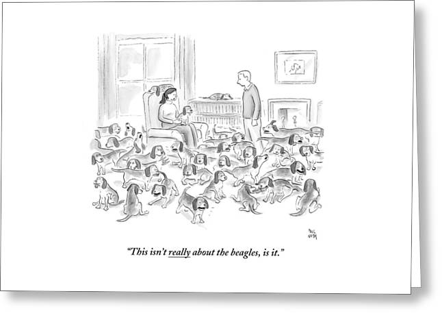 A Wife Surrounded By Beagles Addresses Greeting Card