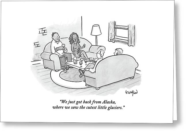 A Wife Tells Guests At A Dinner Party Greeting Card