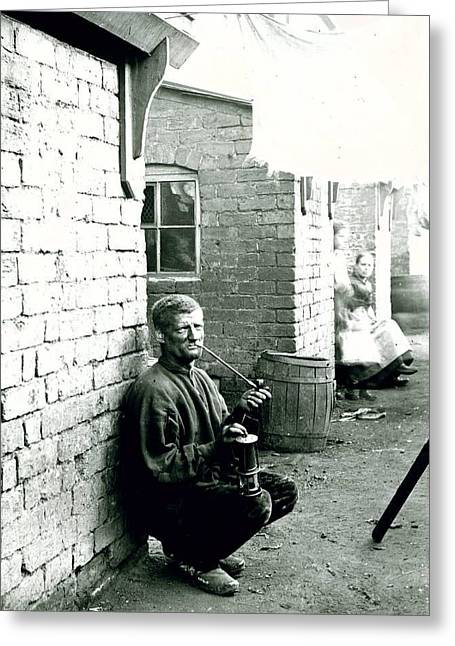 A Wigan Miner Kneeling Down In A Wash Day Alley Greeting Card by MotionAge Designs