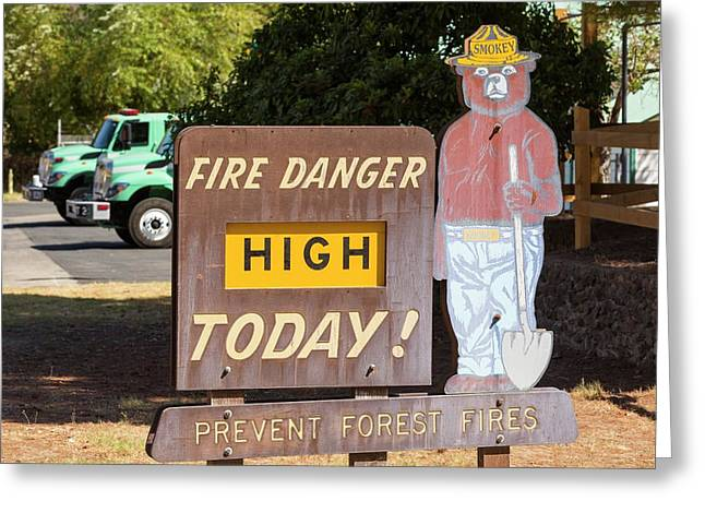 A Wildfire Danger Sign In Springville Greeting Card by Ashley Cooper