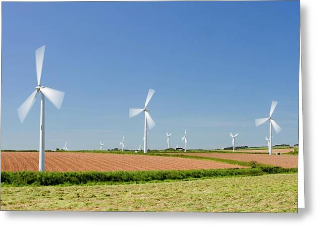 A Wind Farm On Agricultural Land Greeting Card by Ashley Cooper