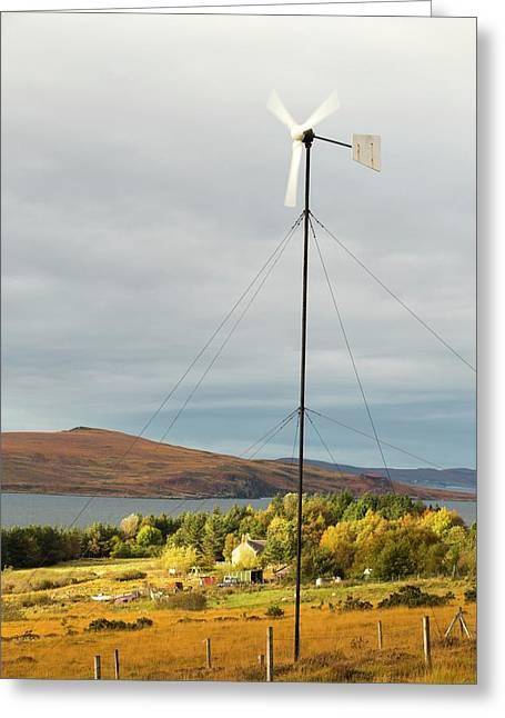 A Wind Turbine In Scoraig Greeting Card by Ashley Cooper