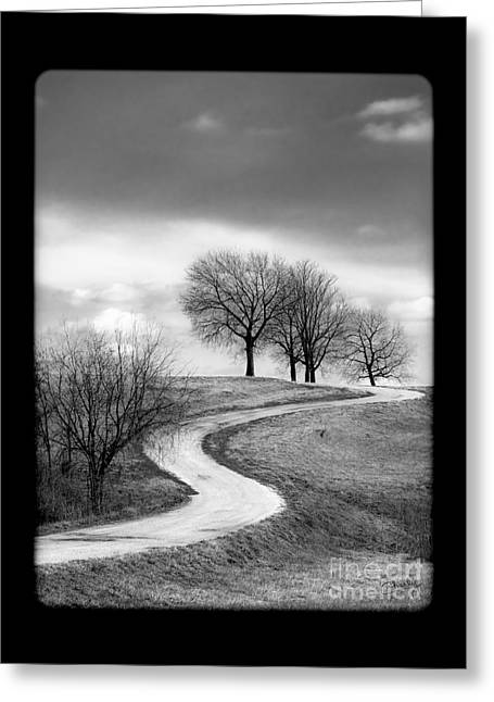 A Winding Country Road In Black And White Greeting Card