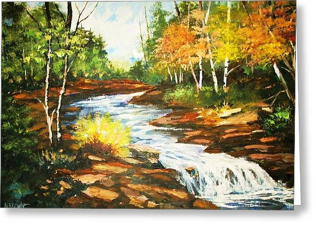 A Winding Creek In Autumn Greeting Card