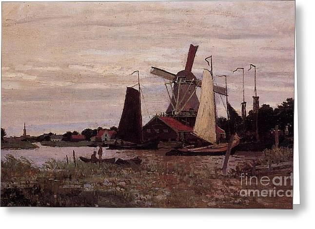 A Windmill At Zaandam Greeting Card by Claude Monet