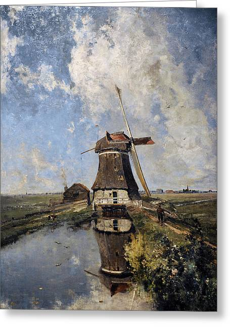 A Windmill On A Polder Waterway, Known As In The Month Of July, C. 1889, By Paul Joseph Constantin Greeting Card