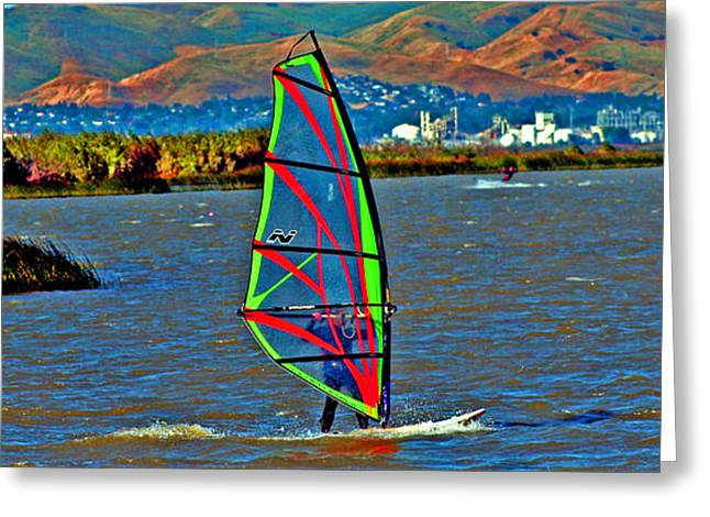 a WindSurfer's Gr8 Ride Greeting Card by Joseph Coulombe