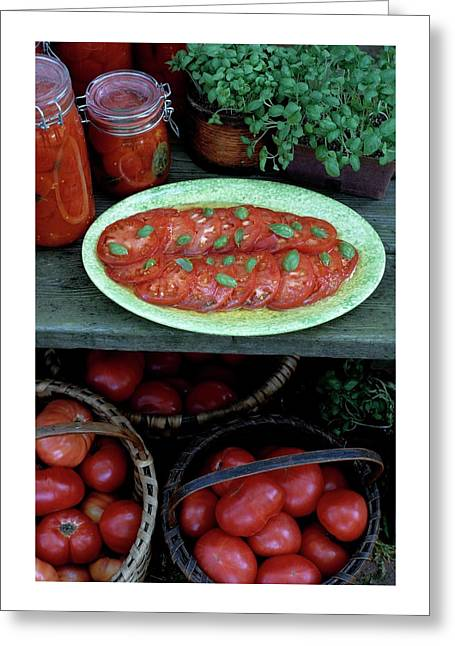 A Wine & Food Cover Of Tomatoes Greeting Card