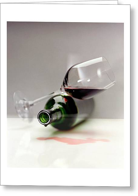 A Wine Bottle And A Glass Of Wine Greeting Card