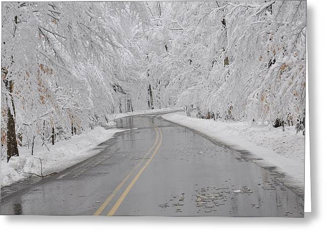 A Winter Drive In Door County. Greeting Card