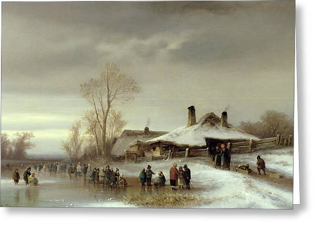 A Winter Landscape With Skaters Greeting Card