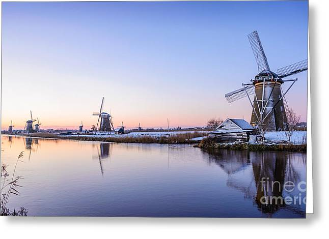 A Cold Winter Morning With Some Windmills In The Netherlands Greeting Card