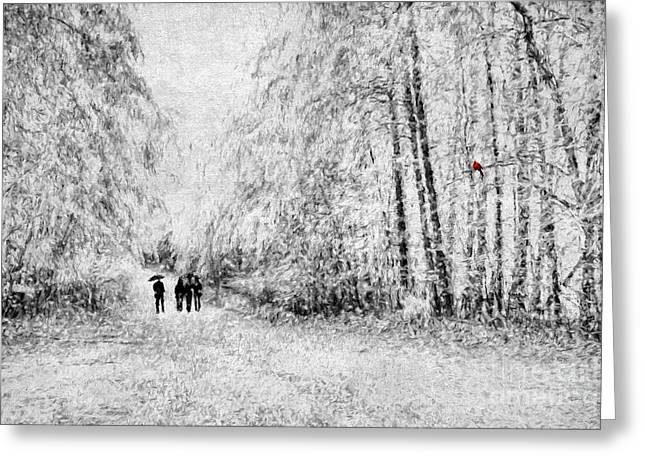 A Winter Stroll Greeting Card by Darren Fisher