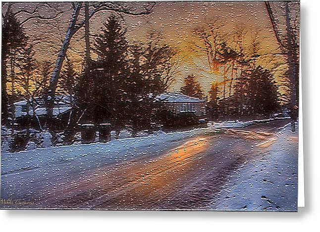A Winter Sunset Greeting Card by Mikki Cucuzzo