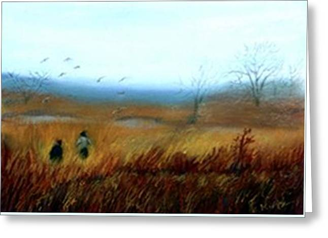 Greeting Card featuring the painting A Winter Walk by Gail Kirtz