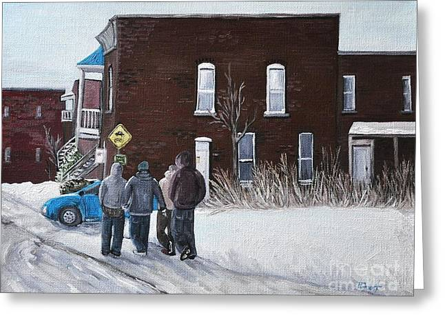 A Winter Walk In Montreal Greeting Card by Reb Frost
