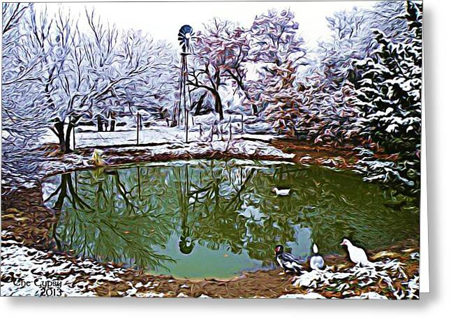 A Winters Pond Greeting Card by The GYPSY And DEBBIE