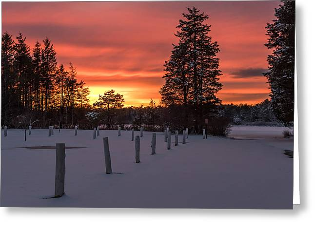 A Winters Sunset Lakehurst Nj Greeting Card by Terry DeLuco