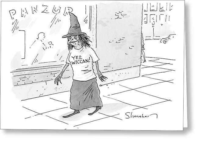 A Witch Walks On The Sidewalk Wearing A Hat Greeting Card