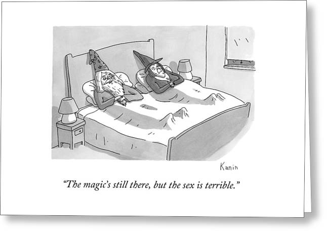 A Wizard And A Witch Lay In Bed Together Greeting Card