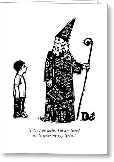 A Wizard With Phrases Written All Over His Cloak Greeting Card