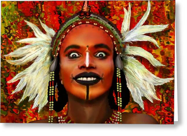 Greeting Card featuring the painting A Wodaabe Groom by Jann Paxton
