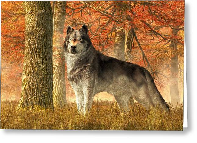 A Wolf In Autumn Greeting Card