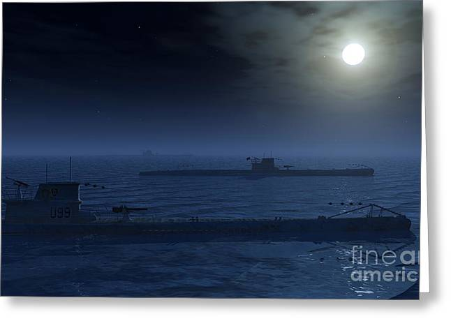 A Wolfpack Of German U-boat Submarines Greeting Card by Mark Stevenson