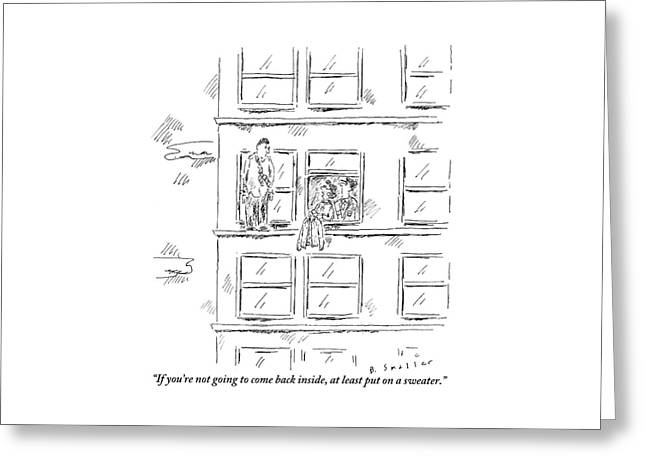 A Woman And A Policeman Look Out Of The Window Greeting Card