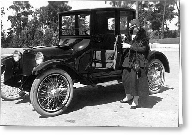 A Woman And Her Car Greeting Card by Underwood Archives