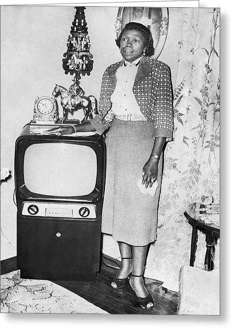 A Woman And Her Tv Greeting Card by Underwood Archives