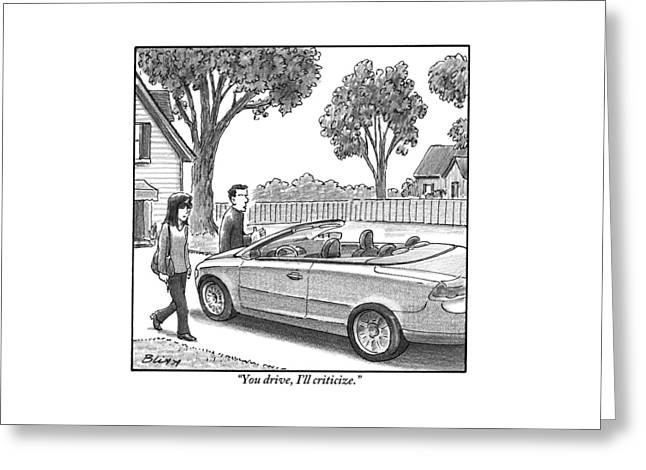 A Woman And Man Are Walking From Their House Greeting Card