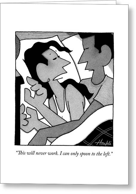 A Woman And Man Spoon In Bed Greeting Card