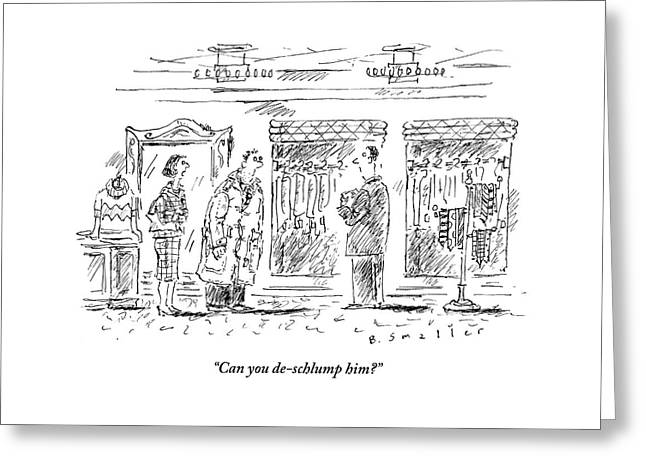 A Woman Asks An Outfitter In His Store To Fix Greeting Card