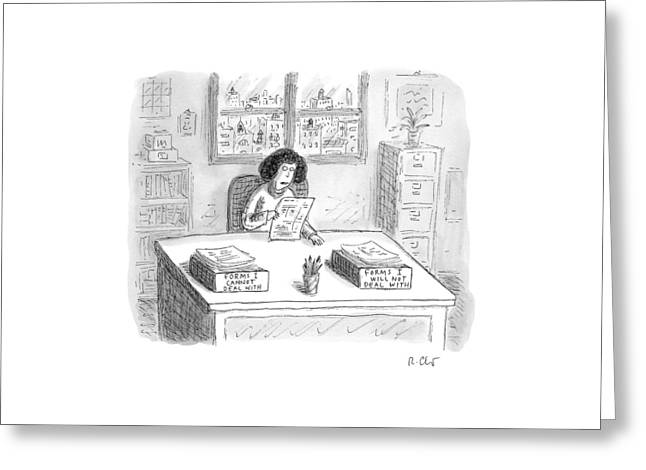 A Woman At A Desk With One Organizer That Says Greeting Card by Roz Chast