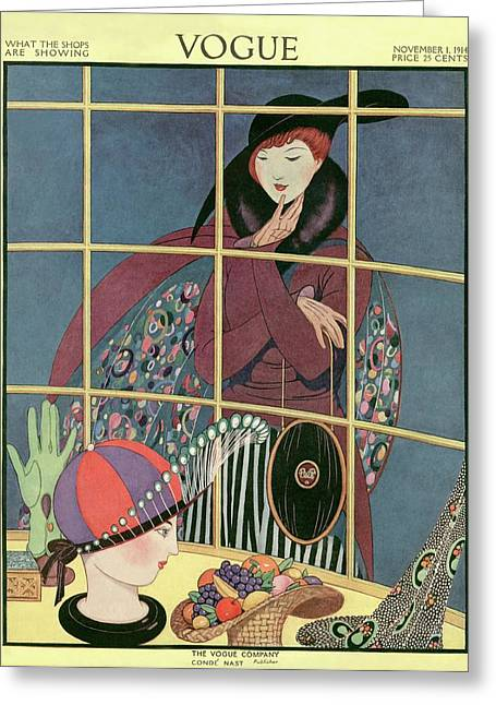 A Woman At A Shop Window Greeting Card by George Wolfe Plank