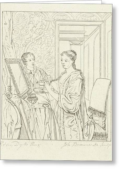 A Woman At Her Toilet, Joannes Bemme Greeting Card by Joannes Bemme