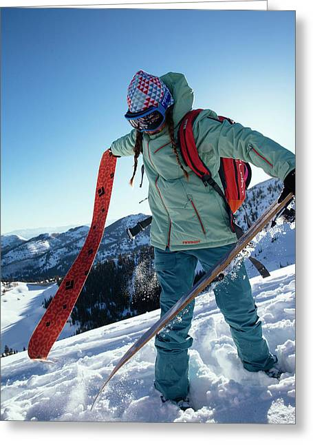 A Woman Backcountry Skiing Greeting Card
