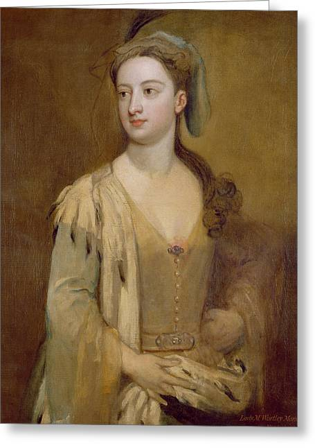A Woman, Called Lady Mary Wortley Montagu, C.1715-20 Oil On Canvas Greeting Card