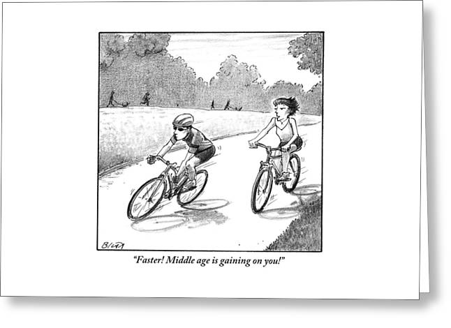 A Woman Casually Riding A Bicycle Addresses A Man Greeting Card