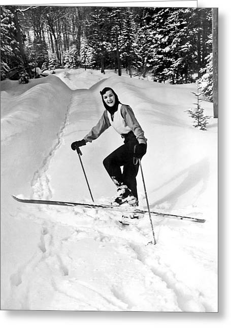 A Woman Cross Country Skiing Greeting Card