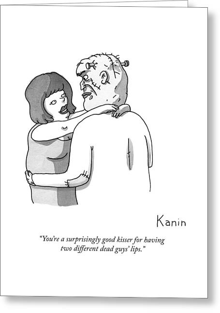 A Woman Embraces Frankenstein's Monster Greeting Card