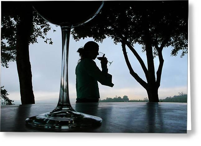 A Woman Enjoying A Glass Of Wine Greeting Card