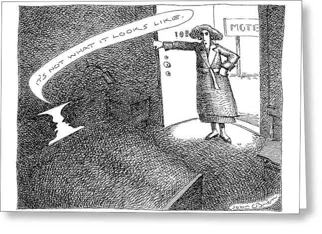 A Woman Enters A Motel Room And Confronts Greeting Card by John O'Brien