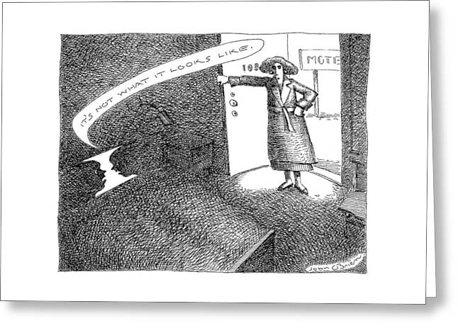 A Woman Enters A Motel Room And Confronts Greeting Card