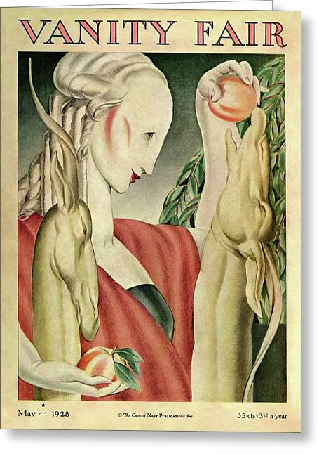 A Woman Feeding Apples To A Deer Greeting Card by Jr., J. Franklin Whitman