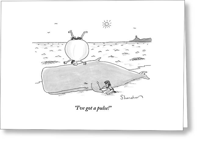 A Woman Finds A Pulse On A Beached Whale Greeting Card by Danny Shanahan