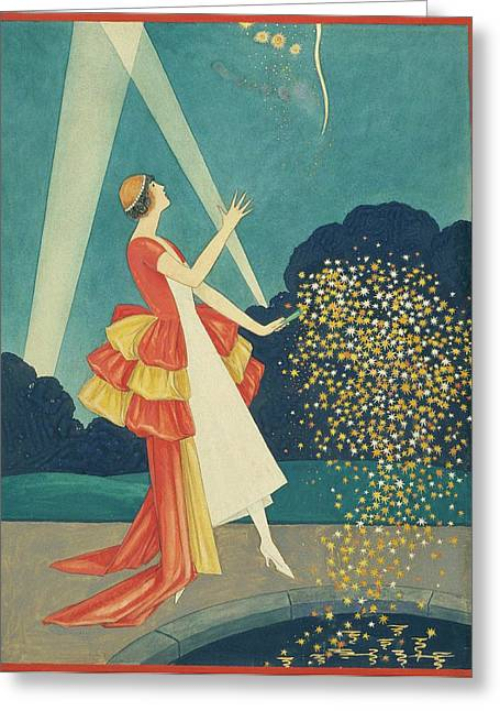 A Woman Holding A Firework Greeting Card by George Wolfe Plank