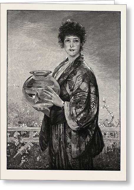 A Woman Holding A Fishbowl Containing Gold Fish Greeting Card by English School